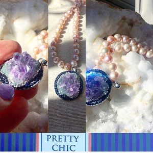 Jewelry - 💜 Pearl & Amethyst Crystal Necklace